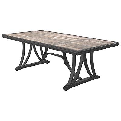 Ashley Furniture Signature Design - Marsh Creek Outdoor Rectangular Dining Table with Umbrella Option - Porcelain Top - Seats 6 - Brown