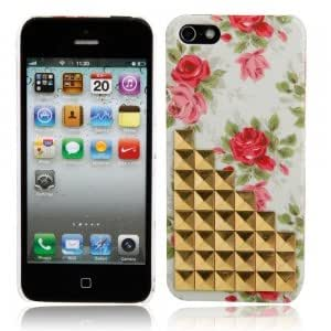 Plastic Hard Case with Green Painted Design + Golden Stairs Decoration for iPhone 5/5S