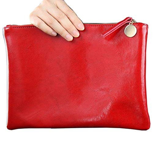Real Patent Leather Genuine Lambskin Envelope Clutch Hand Bag Black Brown Tan (Red)