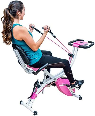 PLENY 3-in-1 Total Body Workout Exercise Bike w Backlit Screen, High Backrest, Adjustable Resistance Bands for Arm Leg, and 300 lbs Weight Support