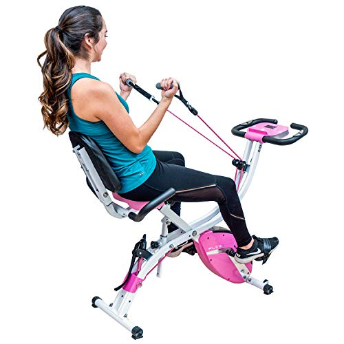 PLENY Premium Foldable Recumbent Exercise Bike with Adjustable Resistance Bands for Arm & Leg, Backrest and Back Handle and 3 Levels Adjustable Frame (Pink) ()