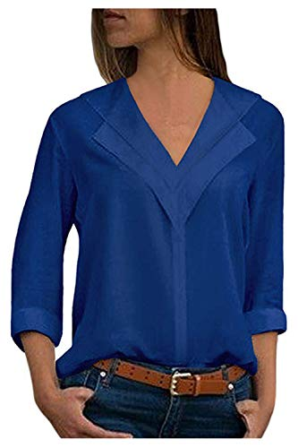 Longues Solide Tops Mousseline Bleu Soie Casual V en Blouse Col De Manches Femmes xg10Tqyvw