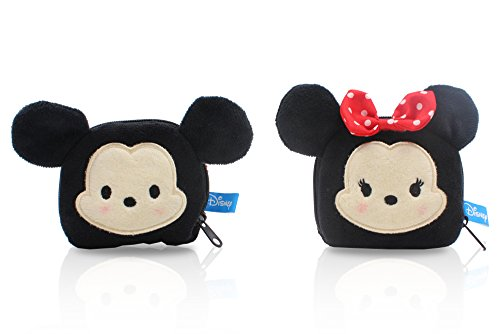 Finex - SET of 2 - Mickey Mouse and Minnie Mouse Plush Coin Bag Holder Purse Case stuffed Pouch for quarters dollars girls women