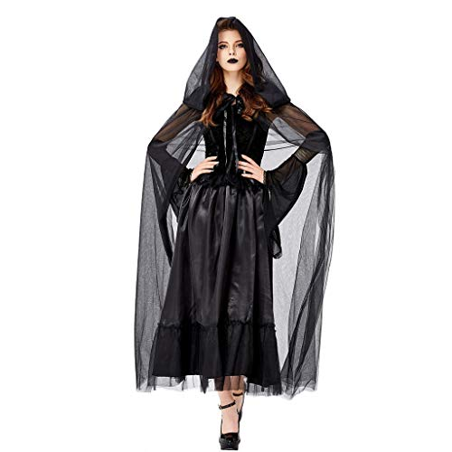 Xinantime Women Halloween Maxi Dress Vintage Witch Long Sleeve Halloween Evening Party Cosplay Costume Black