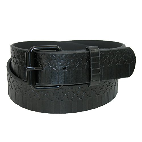 Removable Roller Buckle (CTM Men's Embossed Stars-N-Bars with Removable Roller Buckle Belt, 32,)