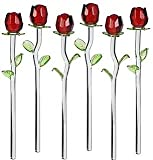 Home Essentials Set of 12 Glass Red Roses With Green Leaves