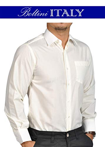 Boltini Italy Mens Solid Dress Shirts with French Convertible Cuff - Long Sleeve (X-Large/Neck 17-17 1/2/Sleeve 36-37, Ivory)