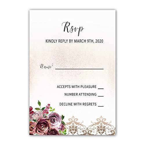 (100 RSVP Response Cards Bugrundy Gold Damask Floral Design + Envelopes)
