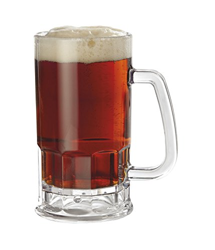 20 oz. Plastic Beer Mugs with Handles, Reusable Dishwasher Safe Plastic for Indoor / Outdoor Use, BPA Free SAN, by 00085-1-SAN-CL-EC (Pack of 4)