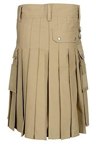 Men's Khaki Utility Kilt (Belly Button Size 40)