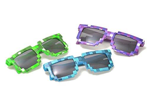 Junior Pixel Art Sunglasses in Assorted Colors (One Dozen - 12 - Sunglasses Art Pixel