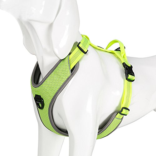 Chai's Choice Best New 2018! Outdoor Adventure Dog Harness. 3M Reflective Vest with Handle and 2 Leash Attachments. PLEASE Use Sizing Chart at Left Before Ordering. (Large, Neon Yellow) (Yellow Harness Dog)