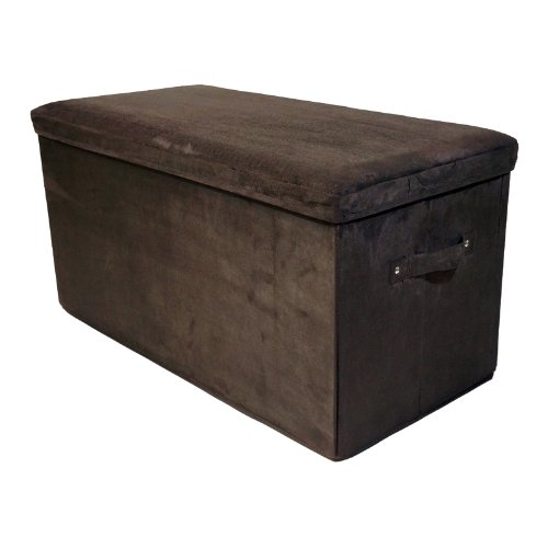 Folding Foyer Bench : Casual home folding storage bench microsuede brown