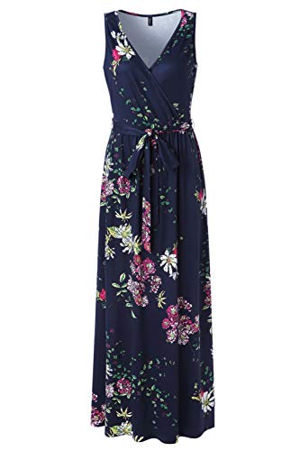 (Zattcas Womens V Neck Sleeveless Empire Waist Floral Maxi Dress,Navy Multi,Small)