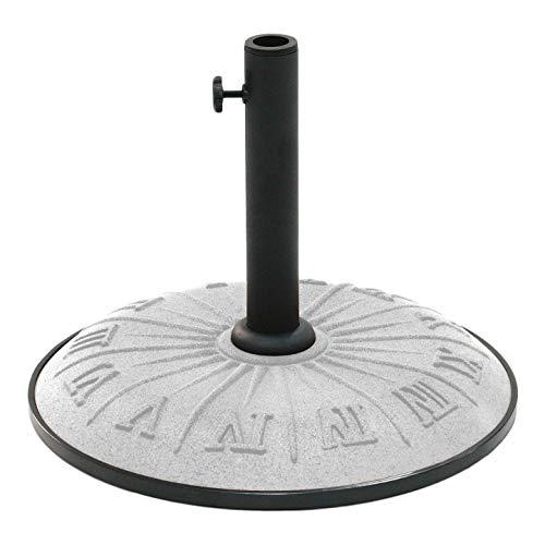 PH 18 Inch Grey Roman Numeral Patterned Patio Umbrella Base, Gray Decorative Umbrella Stand Holder Freestanding Umbrella Support Eco-Friendly Helpful Return Process Resin Compound, Metal