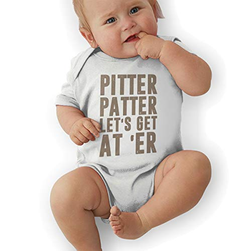 BABYQIN Pitter Patter LetterKenny Baby Short Sleeve Bodysuits Cotton Toddler Onesies White