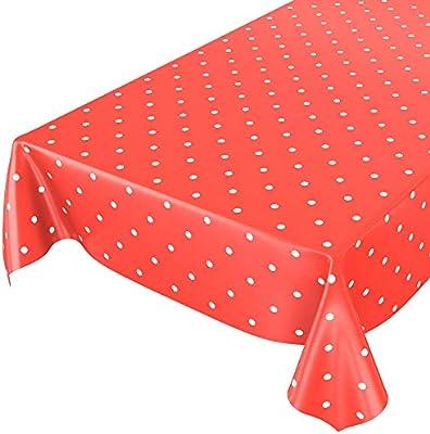 Mantel para mesa de hule, lavable, puntos rojos, redondo, 100 cm ...