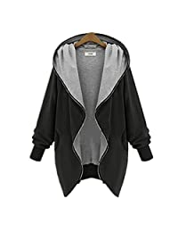 Womdee Women Zip Up Hoodie Long Sleeve Plus Size Casual Jacket Autumn Winter Outwear