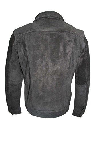 """Camionneur 1280 SUEDE Veste en Cuir T-Shirt Pour Hommes En Peau Suede Noir Western Classique Véritable Peau D""""Agneau Napa doux véritable"""