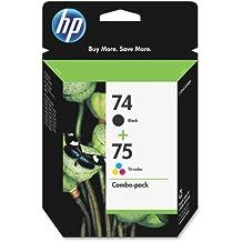 HP 74/75 Ink Cartridges, Black & Tri-color, 2 pack