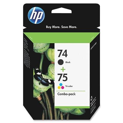 HP 74/75 Ink Cartridges, Black & Tri-color, 2 pack (74xl Hp Ink)