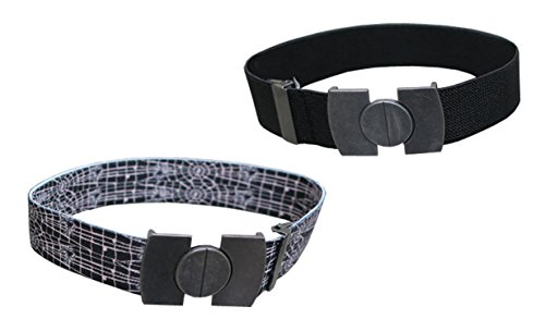 N'Ice Caps Kids 2 Pack Stretch Belts with Magnetic Buckle (One Size, Black Solid / Spiderweb Print)