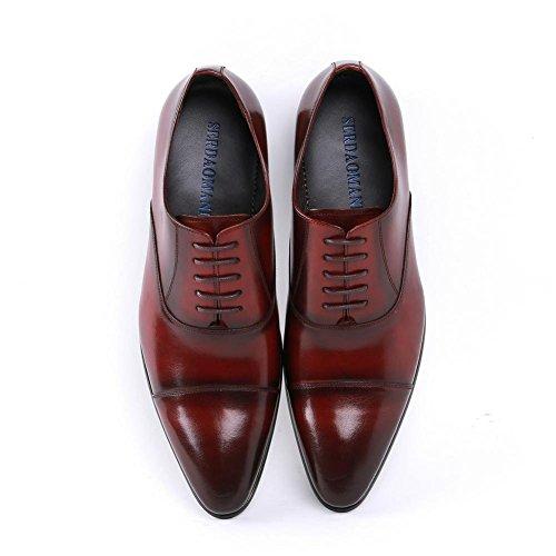 Lacer Pointu Taille Doigt Cuir Noir Formel Chaussures 38 Fête Hommes Oxfords Travail 44 Pied Xie Mariage De Bureau Marron Entreprise zTw08zq