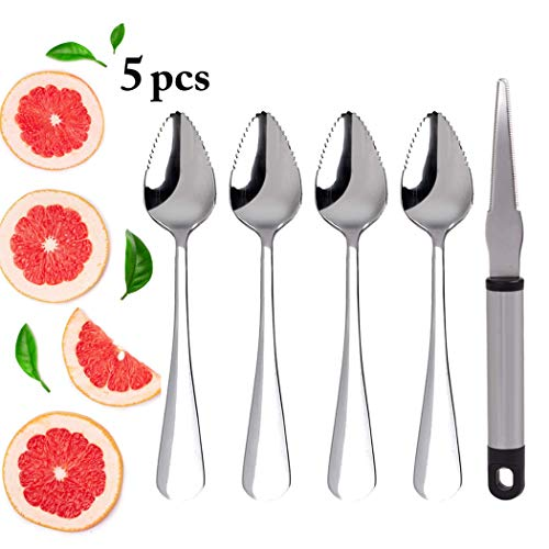 Grapefruit Spoons, JUSTDOLIFE Grapefruit Dessert Spoons Stainless Steel Half Serrated Citrus Fruit Vintage Dessert Spoons Gift for Kitchen