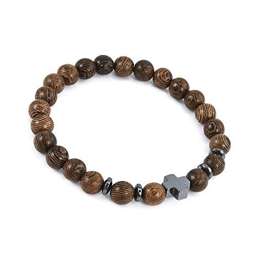 1pc Hematite Cross Wooden Bracelets Stretchy Bracelet Beads Wooden For Men Women