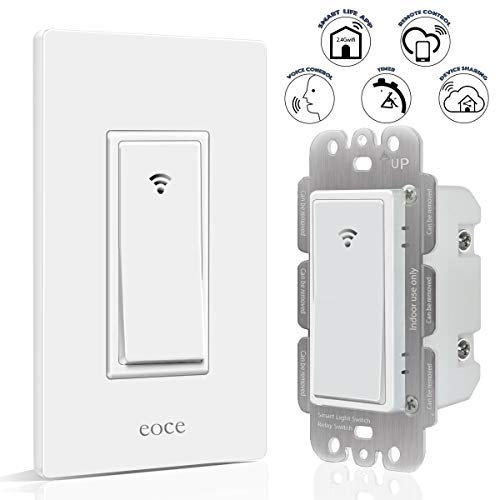 Smart Switch Eoce Wifi Light Switch Work with Alexa Google Home and IFTTT, Timer and Remote Control, No Hub Required, Neutral Wire Required, Easy and Safe Installation, FCC Listed