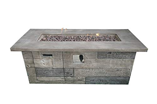 Envelor Timber Outdoor Patio Furniture Wood Firepit Liquid Propane Fire Table Includes Lava Rocks and Lid (Outdoor Timber Furniture)