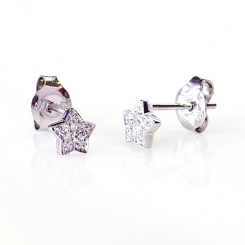 14k White Gold Diamond Star Ea