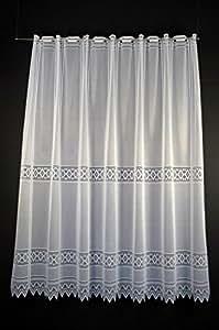 Cortina de media altura jacquard gráficamente altura 150 cm | Ancho de la cortina seleccionable por la cantidad comprada en pasos de 13 cm | Color: blanco | Cortinas cocina