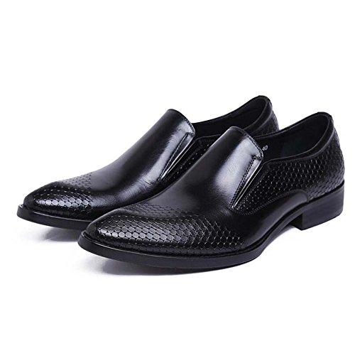40 Hombres Ropa de de de Zapatos Atmósfera Negro Vestir Acentuados Puro Cómodos Diario de Cuero Color para Tamaño Zapatos Zapatos Boda Trabajo q1Fzg