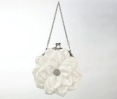 Lillian Rose White Flower Purse Bride Bridesmaid Prom Quince