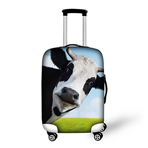 HUGS IDEA 26/28/30 Inch Cow Pattern Stretch Fabric Spandex Luggage Trolley Suitcase Protective Cover