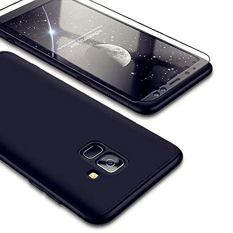 Funda Samsung Galaxy A8 2018, Carcasa Samsung Galaxy A8 2018 con [ Cristal Templado] 3 en 1 Desmontable 360 Grados Anti-Arañazos Protectora Caso, ...