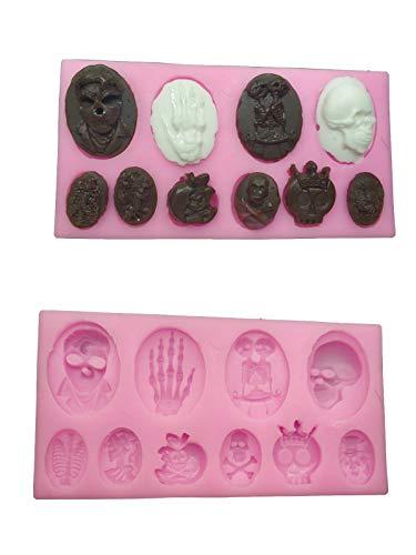 Skull Skeleton Fondant Silicone Mold Fondant Chocolate Mould Baking Cake decorating Tool cupcake Decoration Pastry Gumpaste Kitchen Sugarcraft Baking cooking Cookie Halloween -
