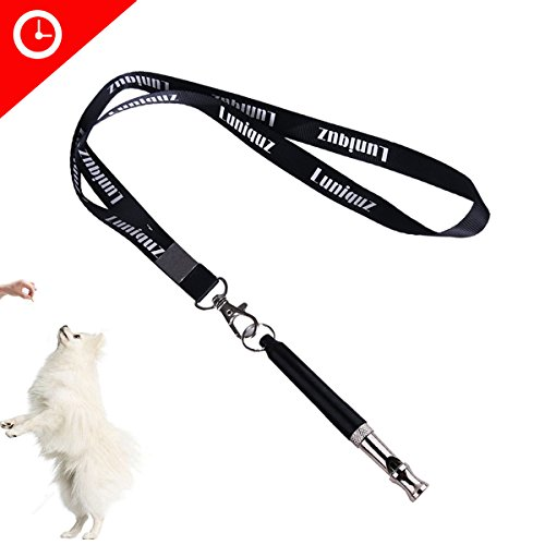 Luniquz Metal Dog Whistle Adjustable Frequency High Pitch Training Aide for Avoid Bad Behavior,Stop Barking,Fetch,Sit [with Lanyard] (Whistle Clasp)