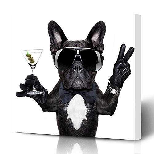 Ahawoso Canvas Prints Wall Art 12x16 Inches Sunglasses French Bulldog Dog Martini Cocktail Victory Birthday Sports Recreation Cool Pug Alarm Alcohol Decor for Living Room Office - Art Dog Martini