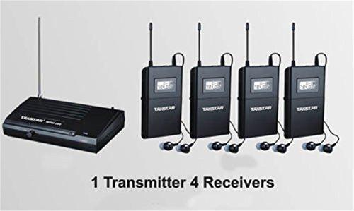 SeeSii Takstar WPM-200 UHF Wireless Monitor System Stereo In-Ear Funkkopfhörer&Kopfhörer Sender & Empfänger Set Ohrhörer 50M Reichweite mit einem Geschenk (WPM-200+Receiver*4)