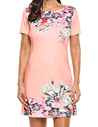 Women's Floral Print Short Sleeve Elegant Party Office...