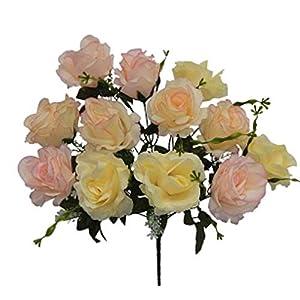 "20"" Open Rose Bush Artificial Silk Wedding Bridal Craft Bouquet Flowers 12 Roses 47"