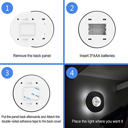 OUKELAN Motion Sensor Light, Wall Light,LED Night Light with Adhesive Pad,Battery Operated Lights,Stick on Wall Lamps for Pantry, Cabinet, Wardrobe, Kitchen, Stairs, Steps, Hallway,2 Pack (White)