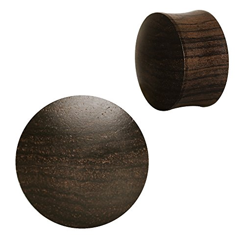 Pierced Owl Organic Ebony Wood Double Flared Saddle Plugs, Sold as a Pair (22mm (7/8