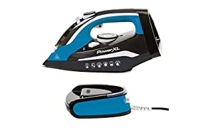 PowerXL Cordless Iron and Steamer Deluxe, Lightweight Dry Steam Iron with Ceramic Ion Soleplate, Vertical Steam, Anti-Calc, Anti-Drip, Auto-Off, Power Base, (Blue 1500 Watt with Ironing Pad)