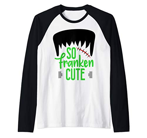 So Franken Cute Monster Halloween Kids Boys Girls  Raglan Baseball Tee]()