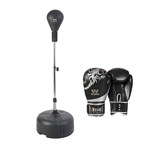 WESING Adjustable Height Pedestal Bags with Spring and Stand Reflex Boxing Bag Freestanding Punching Ball Speed Bag 49.2…