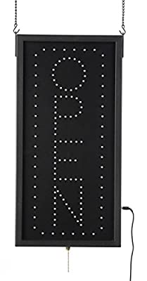 "Displays2go Vertical Animated LED Sign Reads ""OPEN"" with 3 Different Lighting Patterns, Neon Red And Green Bulbs (LEDOPMLXX)"