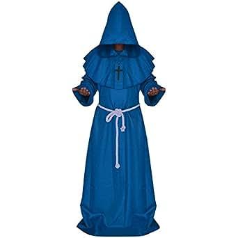 Adultos Disfraz de Monje Verdugo Sacertote Traje Medieval con Cruz Cosplay para Halloween Carnaval